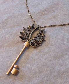 quilled key pendant