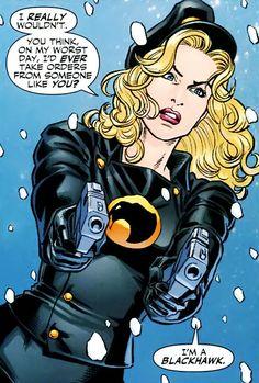 Zinda Blake- Lady Blackhawk (New Earth) - DC Database - Wikia Heros Comics, Comics Girls, Dc Heroes, Female Dc Characters, Dc Comics Characters, Comic Books Art, Comic Art, Marvel Dc, Marvel Comics