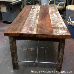 Reclaimed wood table with paint