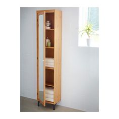 SILVERÅN High cabinet with mirror door - light brown, 40x25x184 cm - IKEA - At the end of the tub.