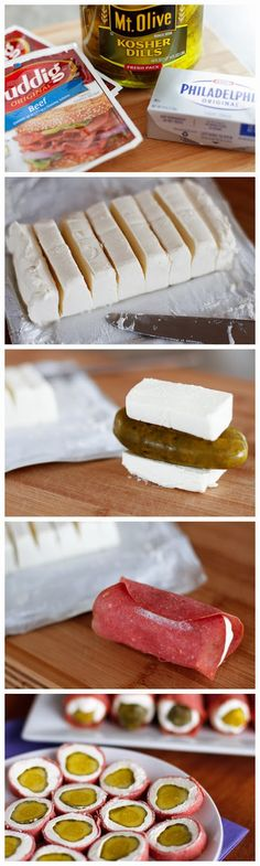 Dried Beef Pickle Roll-Ups
