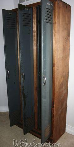 old industrial lockers with custom wood frame.