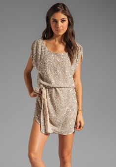 HAUTE HIPPIE Junk Sequins Cowl Tank Dress with Self Belt in Buff at Revolve Clothing - Free Shipping!