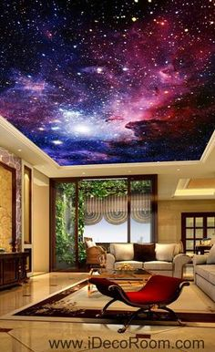 Image of Galaxy Nubela Outerspace 00081 Ceiling Wall Mural Wall paper Decal Wall Art Print Decor Kids wallpaper Diy Pallet Wall, Pallet Walls