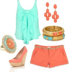 """""""coral and turquoise"""" by nataliesouth on Polyvore"""
