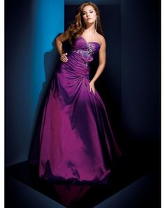 A-line Sweetheart Rhinestone Sleeveless Floor-length Taffeta Prom Dresses Evening Dresses