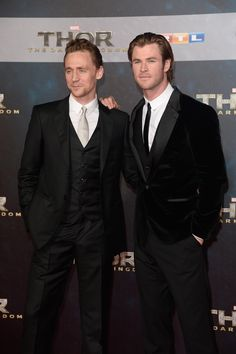 Tom Hiddleston and Chris Hemsworth arrive for THOR: The Dark Kingdom Germany premiere at CineStar on October 27, 2013 in Berlin, Germany