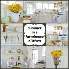 Summer decorating ideas in a farmhouse country kitchen via Town and Country Living.