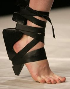 Conceptual Footwear Design strapped in but missing a sole... shoe art