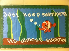 "Finding Nemo themed board? ""Getting stuck? Just keep swimming"" with common problems."