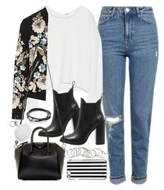"""Outfit with blue jeans and a bomber jacket"" by ferned on Polyvore featuring Topshop, Helmut Lang, Needle & Thread, Windsor Smith, Givenchy, Michael Kors, H&M and MICHAEL Michael Kors"