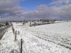 A neve também atingiu a cidade de Major Vieira, em Santa Catarina, Brasil