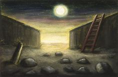 """Peter Booth """"Ladder and Moon"""""""