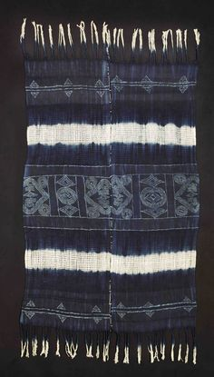 Museum der Kulturen, Basel # III21498. Omada cloth, Okpella, Etsako East Division, Nigeria. Senior women's title cloth made by Mrs Iyawo Obamina. Collected by Jean Borgatti in 1979.
