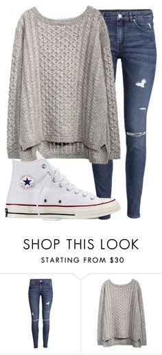 """Untitled #1161"" by abbeycadabbey ❤ liked on Polyvore featuring H&M and Converse"