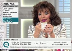 Dame Joan Collins was seen applying make-up when she advertised her 'Perfect Partners Lip ...