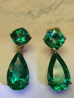 These emerald earrings are attractive: good shape and scale.  I'm not sure what to make of their having been offered on Etsy.  The vendor doesn't have anything in his/her Etsy shop at present.   Colombian Emerald Earings by MPPARAGONDESIGN on Etsy