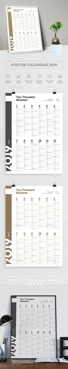 #Calendar 2019 #Poster - #Calendars Stationery Office Calendar, Calendar 2018, Desk Calendars, Creative Calendar, Thank You For Purchasing, Minimalist Poster, Poster Wall, Calendar Templates, Stationery