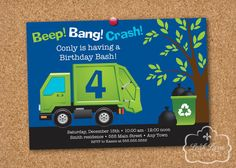 Garbage/Recycle Truck Birthday Party Printable Invitation by LeahLaneDesign, $18.00