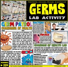 Expose your students to an entertaining and comprehensive telling of diseases, infections for your young ones. Students will learn about the four types of pathogens including bacteria, viruses, fungi, and protozoa. Through this lab, they will see first-hand how germs grow. They will also see how they can prevent the spread of germs by using personal protective equipment. The lab is very visual and easy to use. There is also a black and white copy included as well. Different Types Of Animals, Young Ones, Science Education, Teacher Newsletter, Fungi, Super Powers, Teacher Pay Teachers, Lab, Students