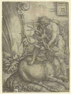Hercules vangt het Arcadische hert, Heinrich Aldegrever, 1550