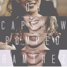 Smiles of Greys! Sandra Oh (Cristina Yang), Jessica Capshaw (Arizona Robbins), Ellen Pompeo (Meredith Grey) & Sara Ramirez (Callie Torres). Grey's Anatomy.