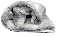 Tache 50 x 60 IN Striped Grey Plush Rabbit Faux Fur Throw Blanket