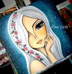 """La luz de las estrellas"" 40 x 40 #romilerdart Doll Painting, Painting Of Girl, Painting & Drawing, Kunstjournal Inspiration, Art Journal Inspiration, Art Store, Whimsical Art, Indian Art, Diy Art"