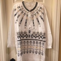 J. Crew NWT peasant top size M NWT linen peasant top has all over front embroidering Size M retail tag attached no flaws J. Crew Tops Blouses