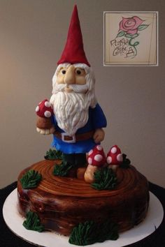 Garden Gnome Cake RozeBud's Cakes Charlotte, NC www.rozebudcakes.com