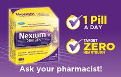 NEW Nexium® is the latest treatment for frequent heartburn. Nexium® tackles heartburn at the source, by binding to proton pumps in the stomach lining to block stomach acid from being released. Now available without a prescription! Heartburn Symptoms, Heartburn Relief, Stop Acid Reflux, Stomach Acid, Simple Way, Pumps, Court Shoes, Pump Shoes, Slipper