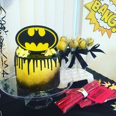 Batman drip cake Niki Diggs Cakes & Catering! (575) 621-5111  ~ El Paso TX and Las Cruces NM ~ https://www.facebook.com/nikidiggscakesandcatering/