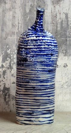 Handbuilt stoneware bottle with colbalt carbonate decoration by Brenda Holzke