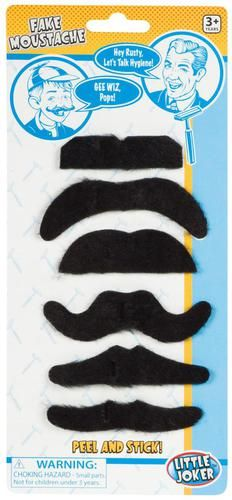 A quick disguise! These Fake Mustaches are made of polyester and peel and stick for ages 3+. Each package includes 6 fake mustaches in assorted styles.Includes (6) fake moustaches in assorted styles.