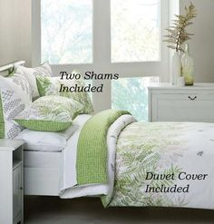 Painterly Green Fern Leaf Print Turns Your Bed Into An Urban Retreat Reverses To A And Pure White Trellis Duvet Cover Has Hidden On