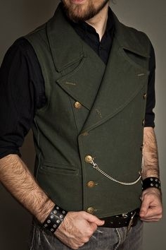 Wide button vest with large colar. Olive - Front $165