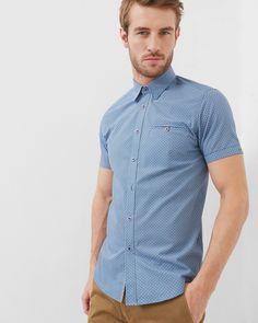 Ted Baker Rinalin Geo Print Cotton Poplin Shirt - Blue Ted Baker Men Shirts