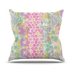 KESS InHouse MH2002AOP03 18 x 18-Inch 'Chickaprint Impression Pastel Mix' Outdoor Throw Cushion - Multi-Colour * Check out the image by visiting the link. #GardenFurnitureandAccessories