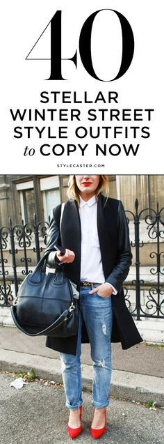 Live the simplicity: white shirt + cropped denim with leopard belt + red courts + red lip + coat with leather sleeves + major tote