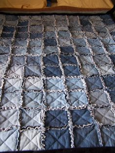 denim rag quilt for Levi...want to back it with RealTree camo flannel :)