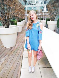 Sydney Hoffman - Zara Denim Dress, Converse Sneakers, Celine Pink Bag - Cold Shoulder