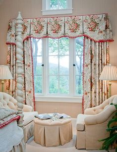 Great example of how fabric placement can make (or break!) a window treatment. I would have made the drapery panels wider to stack back past the window though. And that small window above is problematic I would probably do a roman shade with a long cord that could be tucked over to the side.