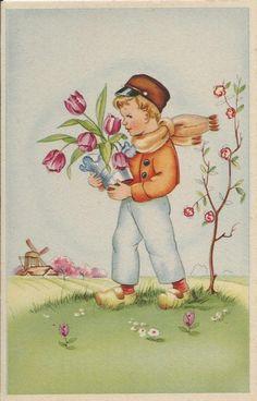 Jongen met tulpen   Vintage ansichtkaarten   ZomaarVintage