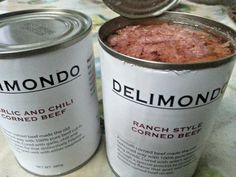 Delimondo corned beef. The plain white packaging doesn't distract from the pure beef goodness inside.