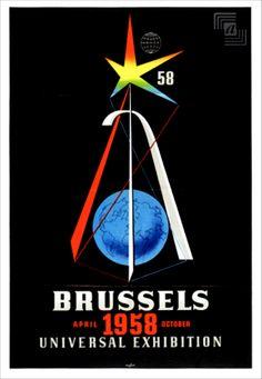 #atomium #expo58 #worldexhibition #worldfair #bruxelles #brussels #brussel #1958 #atomicage #expouniverselle #wereldtentoonstelling #deroeck #fifties #design #vintage #poster