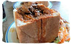 bunny chow - a visit to Durban and a bunny chow Curry Recipes, Meat Recipes, Garam Masala, Chow Chow, Chutney, Cornbread, Banana Bread, French Toast, Spicy