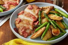Honey-Rhubarb Chicken with Asparagus & Fingerling Potatoes. Visit https://www.blueapron.com/ to receive the ingredients.