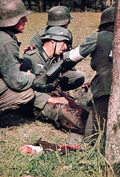 Badly Wounded German Soldier With His Arm Shot Away.