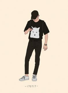 chanyeol's black summer outfits Cover Wattpad, Character Art, Character Design, Exo Fan Art, Boy Illustration, Boy Art, Chanyeol, Aesthetic Anime, Cute Stickers