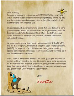 This printable letter from santa is intended for christian families printable christian santa letters spiritdancerdesigns Images